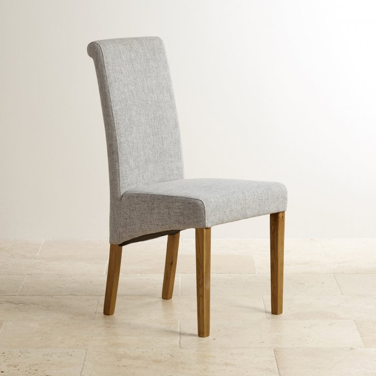 Scroll Back Plain Grey Fabric Chair with Solid Oak Legs - Image 4