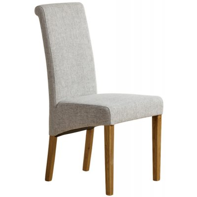 Scroll Back Plain Grey Fabric Chair with Solid Oak Legs