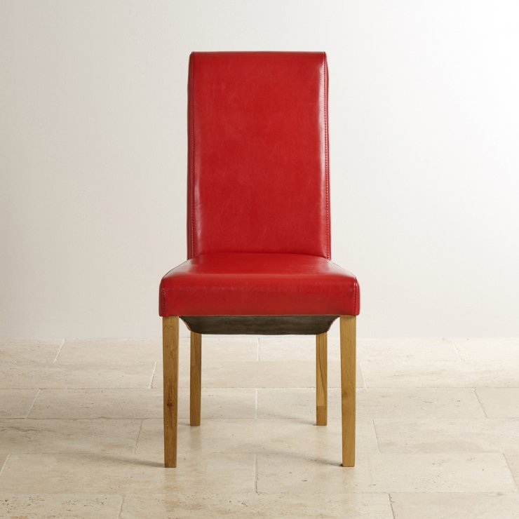 Scroll Back Red Leather Chair with Solid Oak Legs