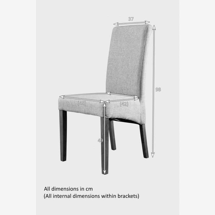 Scroll Back Scripted Beige Fabric Chair with Solid Oak Legs