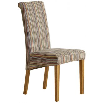 Scroll Back Striped Multi-coloured Fabric Chair with Solid Oak Legs