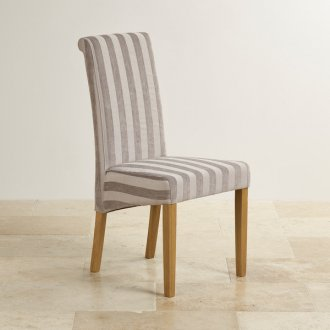 Scroll Back Striped Silver Fabric Chair with Solid Oak Legs