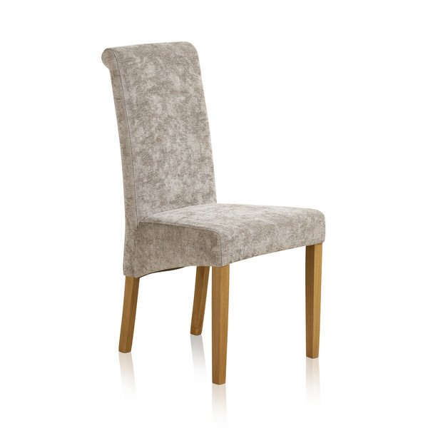 Scroll Back Truffle Fabric Chair with Solid Oak Legs