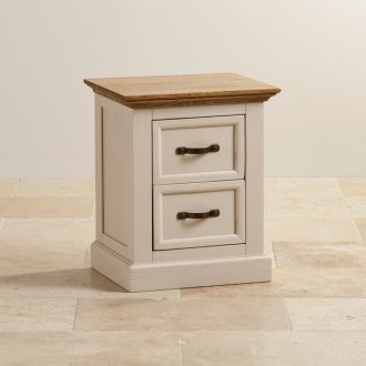 Seychelles Painted and Brushed Solid Oak 2 Drawer Bedside Cabinet