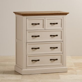 Seychelles Painted and Brushed Solid Oak 3+2 Drawer Chest