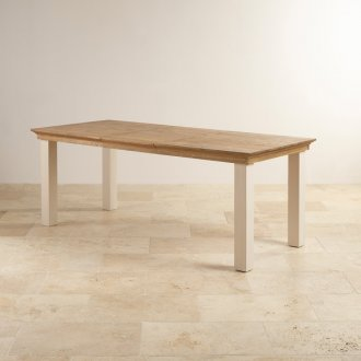 Seychelles Painted and Brushed Solid Oak 5ft x 3ft Extending Dining Table