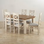 Seychelles Brushed Oak and Painted 5ft x 3ft Extending Dining Table with 6 Plain Grey Chairs - Thumbnail 2