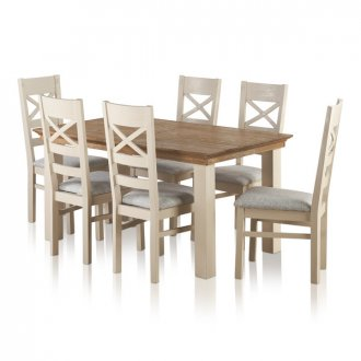 Seychelles Brushed Oak and Painted 5ft x 3ft Extending Dining Table with 6 Plain Grey Chairs