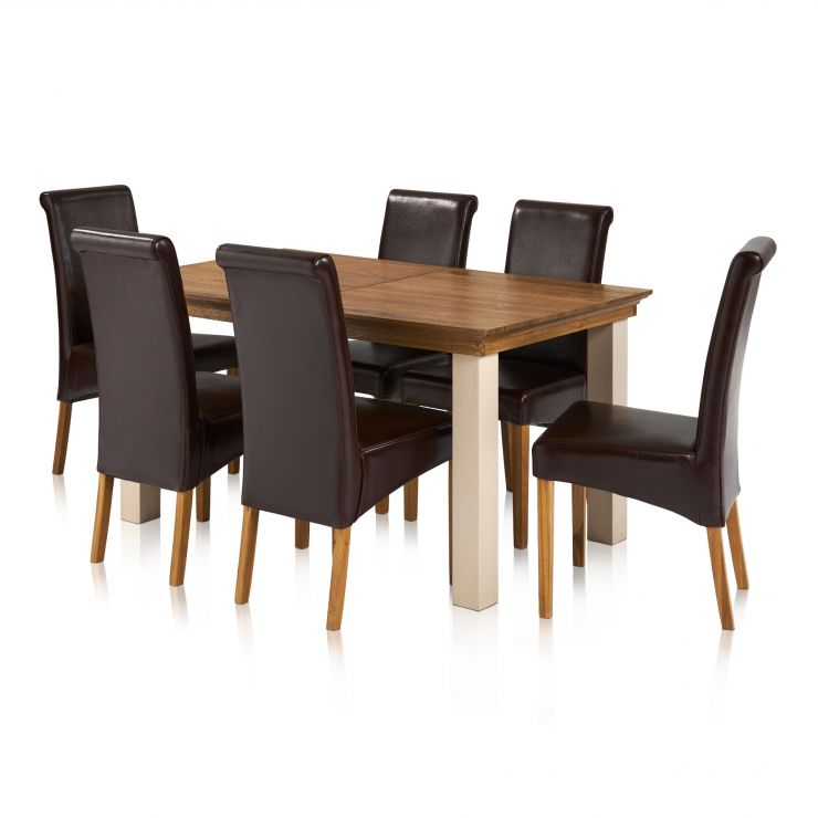 Seychelles Brushed Oak and Painted 5ft x 3ft Extending Dining Table with 6 Scroll Back Brown Leather Chairs - Image 7