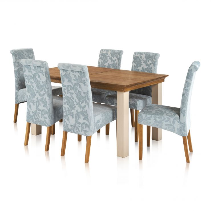 Seychelles Brushed Oak and Painted 5ft x 3ft Extending Dining Table with 6 Scroll Back Patterned Duck Egg Chairs - Image 7