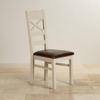 Seychelles Painted and Brushed Solid Oak and Brown Leather Dining Chair