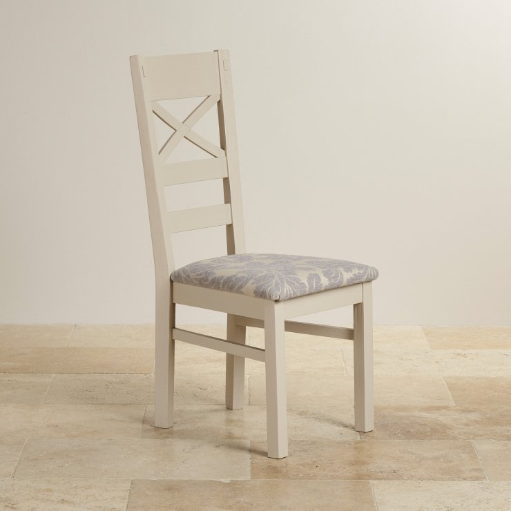 Seychelles Painted and Brushed Solid Oak and Patterned Grey Fabric Dining Chair - Image 3