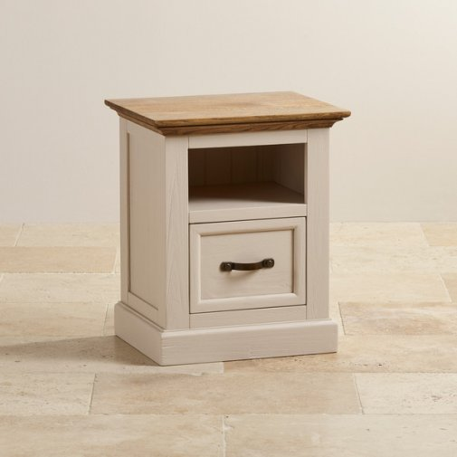 Seychelles Painted and Brushed Solid Oak Bedside Table