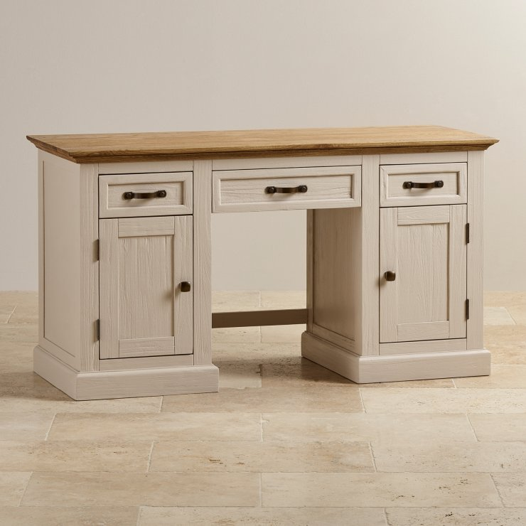 Seychelles Painted and Brushed Solid Oak Office Desk - Image 7