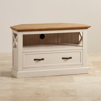 Seychelles Painted and Brushed Solid Oak Corner TV Cabinet