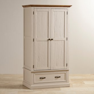 Seychelles Painted and Brushed Solid Oak Double Wardrobe