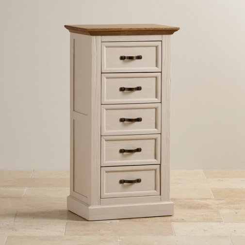 Seychelles Painted and Brushed Solid Oak Tallboy