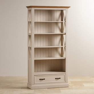 Seychelles Painted and Brushed Solid Oak Tall Bookcase