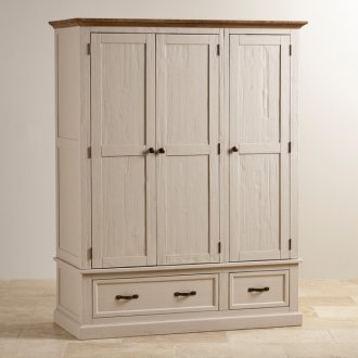Seychelles Painted and Brushed Solid Oak Triple Wardrobe
