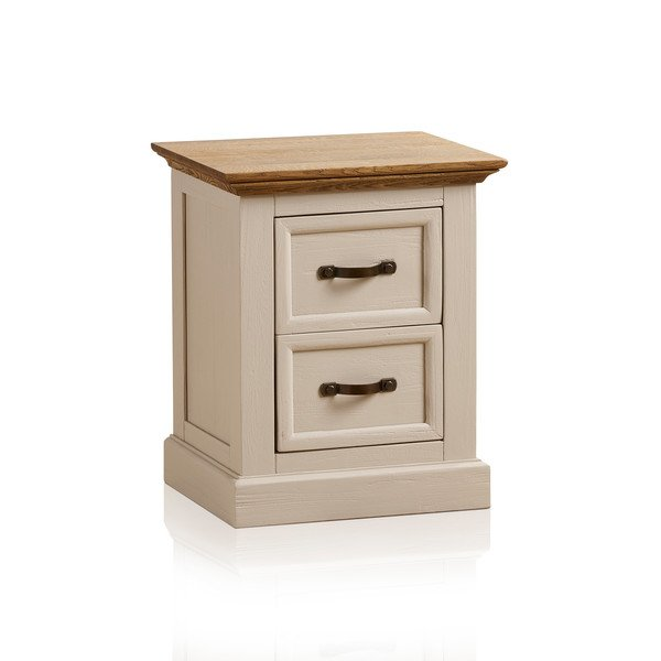 Seychelles Painted and Brushed Solid Oak 2 Drawer Bedside Cabinet