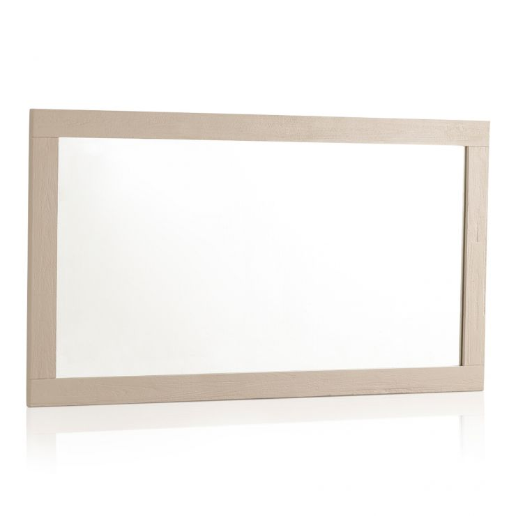 "Seychelles Painted and Brushed Solid Oak 43.5"" X 22"" Wall Mirror - Image 4"