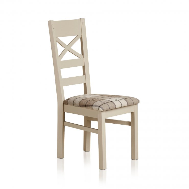 Seychelles Painted and Brushed Solid Oak and Check Brown Fabric Dining Chair - Image 4