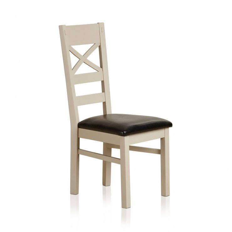 Seychelles Painted and Brushed Solid Oak and Painted and Black Leather Dining Chair - Image 3