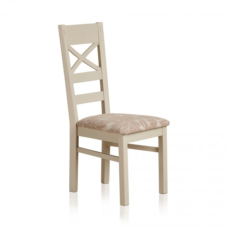 Seychelles Painted and Brushed Solid Oak and Patterned Beige Fabric Dining Chair - Image 1