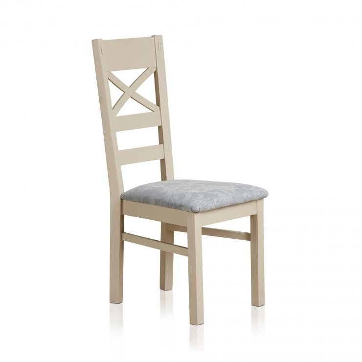 Seychelles Painted and Brushed Solid Oak and Patterned Duck Egg Fabric Dining Chair - Image 3