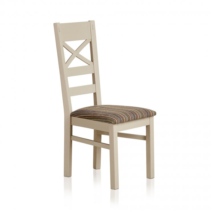 Seychelles Painted and Brushed Solid Oak and Striped Multi-coloured Fabric Dining Chair - Image 4