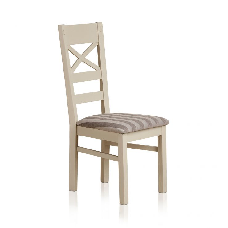Seychelles Painted and Brushed Solid Oak and Striped Silver Fabric Dining Chair
