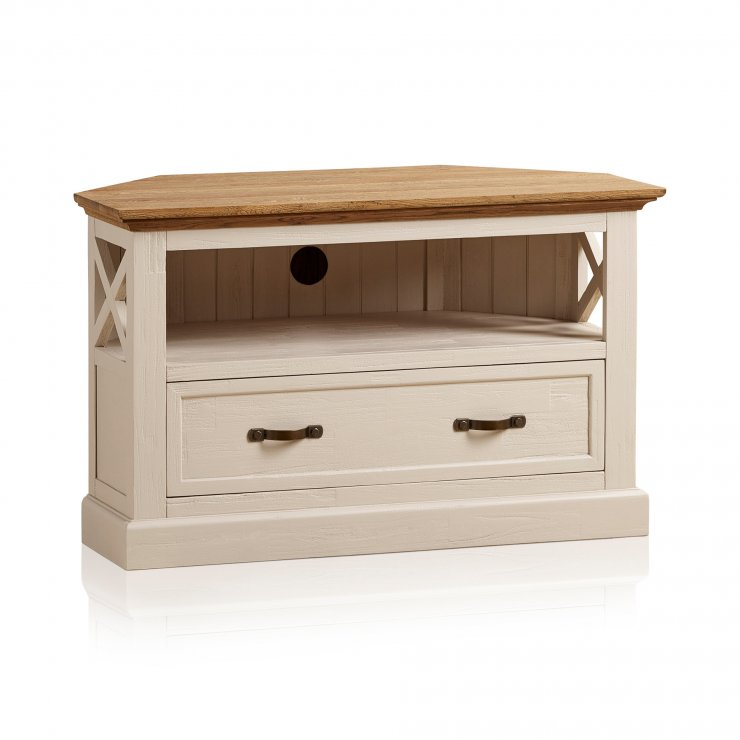 Seychelles Painted and Brushed Solid Oak Corner TV Cabinet - Image 6