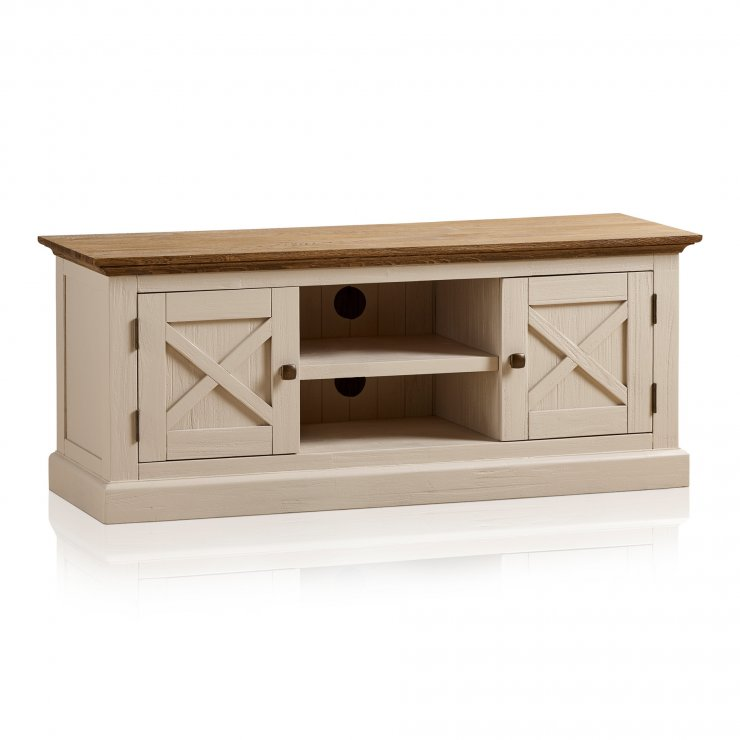 Seychelles Painted and Brushed Solid Oak Large TV Cabinet - Image 7