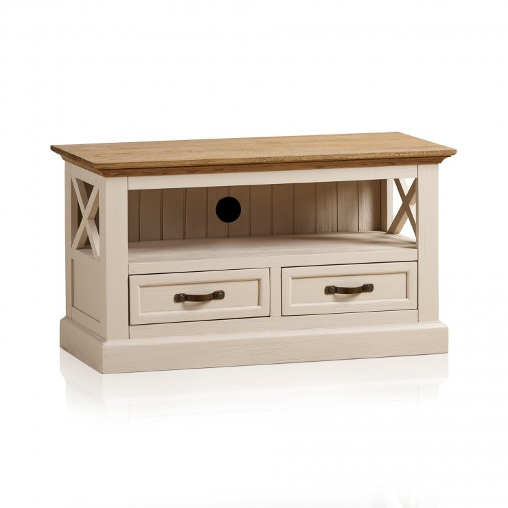 Seychelles Painted and Brushed Solid Oak Small TV Cabinet - Image 6