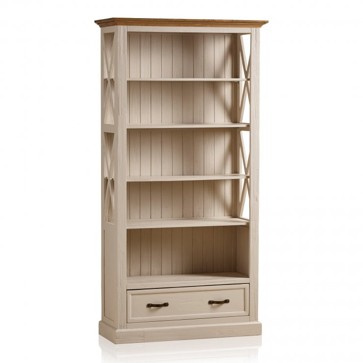 Seychelles Painted and Brushed Solid Oak Tall Bookcase - Image 9