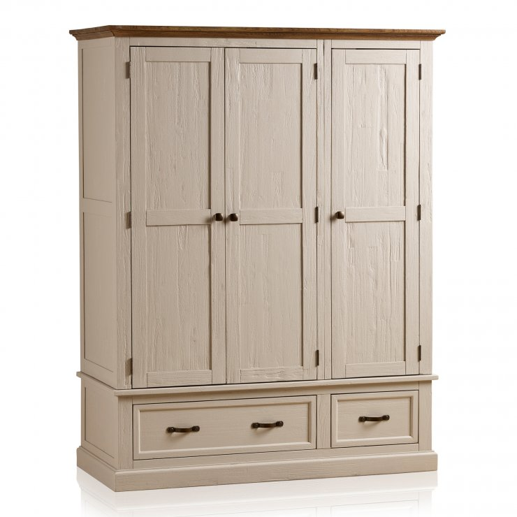 Seychelles Painted and Brushed Solid Oak Triple Wardrobe - Image 6