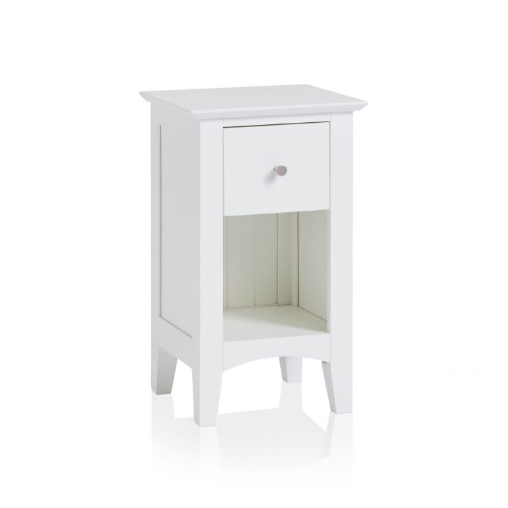 Shaker White Painted Hardwood 1 Drawer Bedside Table - Image 5