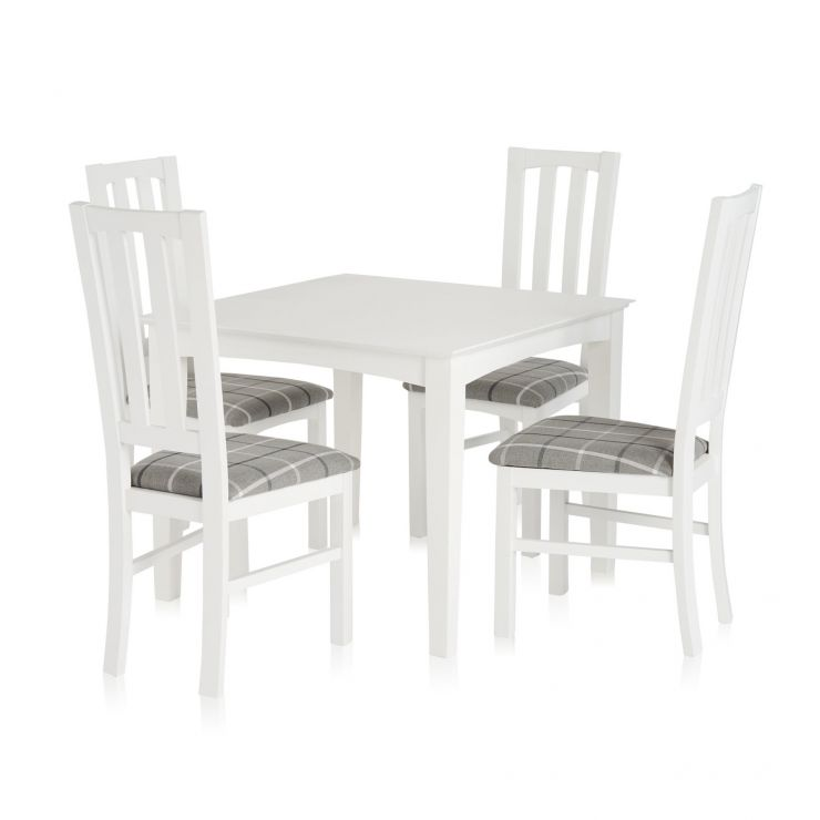 Table Carree Blanche: White Square Dining Table And 4 Check Granite Chairs