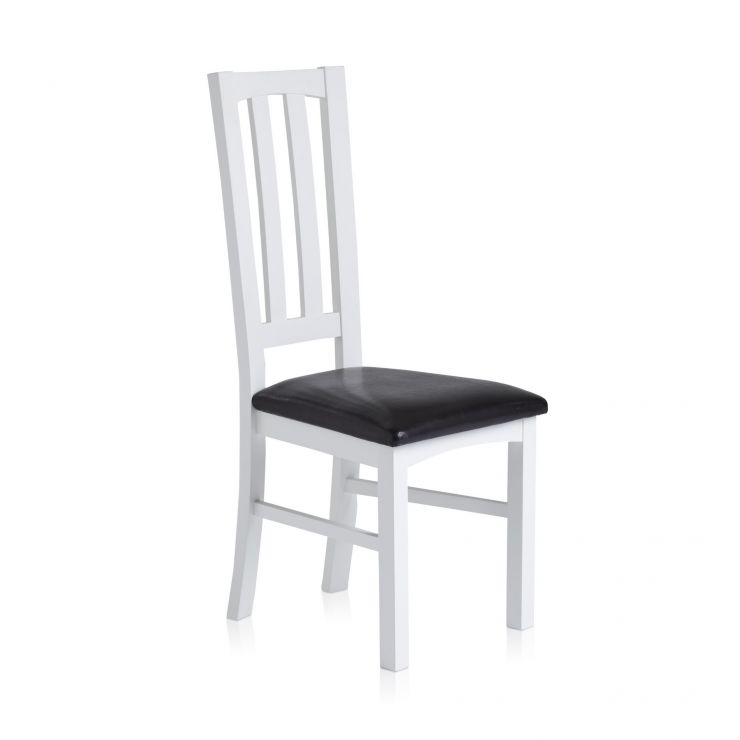 Shaker White Painted Hardwood Black Leather Dining Chair
