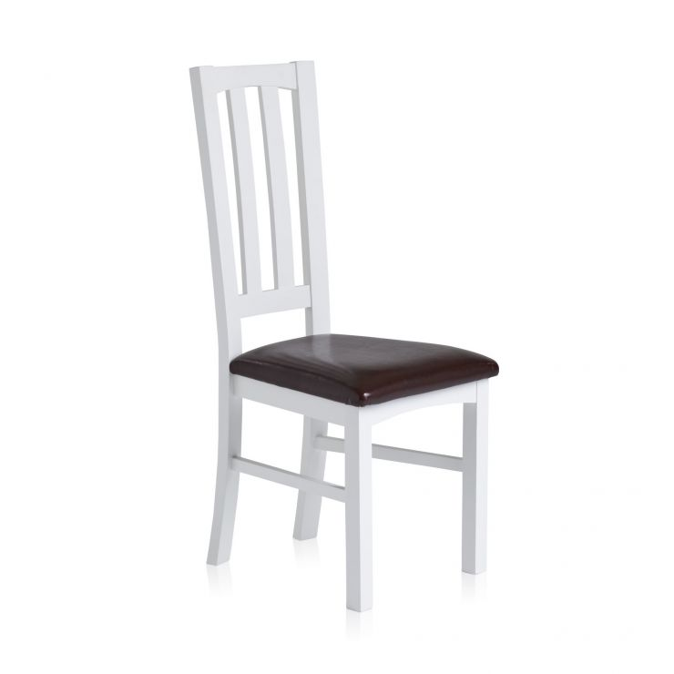 Shaker White Painted Hardwood Brown Leather Dining Chair - Image 1