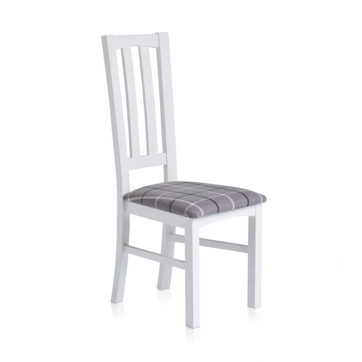 Shaker White Painted Hardwood Check Granite Fabric Dining Chair - Image 3