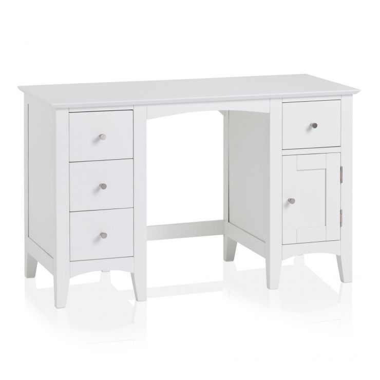 Shaker White Painted Hardwood Computer Desk - Image 5