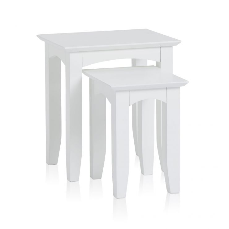 Shaker White Painted Hardwood Nest of 2 Tables - Image 4