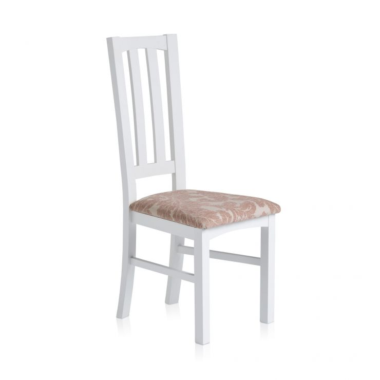Shaker White Painted Hardwood Patterned Beige Fabric Dining Chair