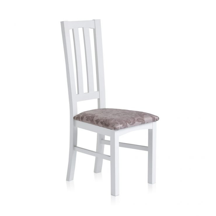 Shaker White Painted Hardwood Patterned Silver Fabric Dining Chair - Image 1