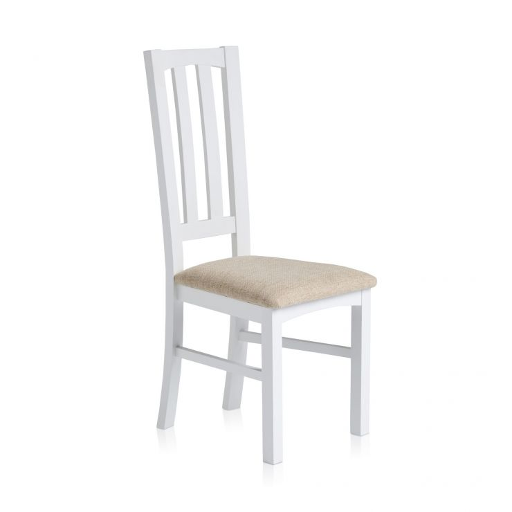 Shaker White Painted Hardwood Plain Beige Fabric Dining Chair - Image 3