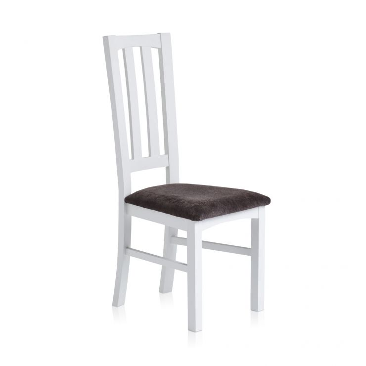 Shaker Painted Hardwood Plain Charcoal Fabric Dining Chair - Image 3