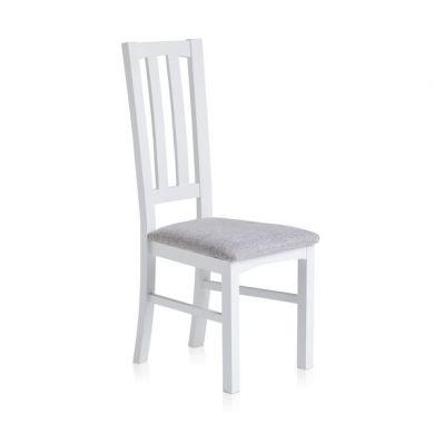 Shaker Painted Hardwood Plain Grey Fabric Dining Chair