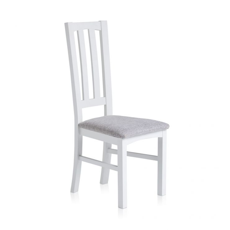Shaker White Painted Hardwood Plain Grey Fabric Dining Chair - Image 3