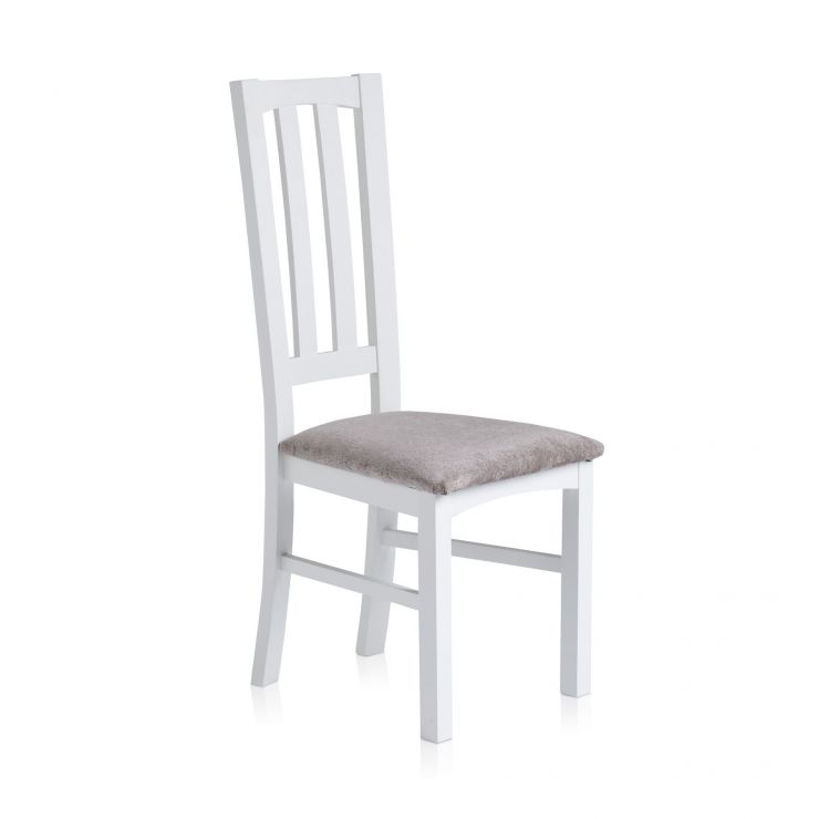 Shaker Painted Hardwood Plain Truffle Fabric Dining Chair - Image 3